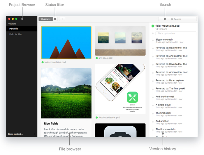 Folio for Mac - Sketch versioning