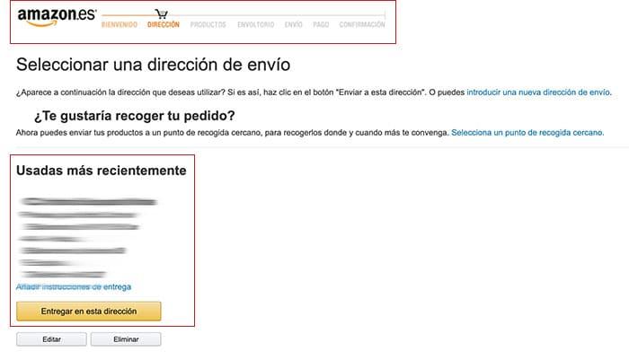 Ley de Hick - Checkout Amazon Direcciones