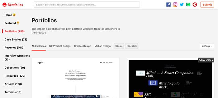 Best Folios - Inspiración para hacer tu portfolio