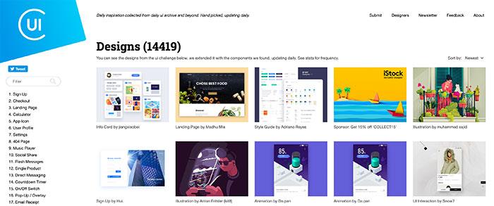 Collect UI - Inspiración de elementos UI y diseños
