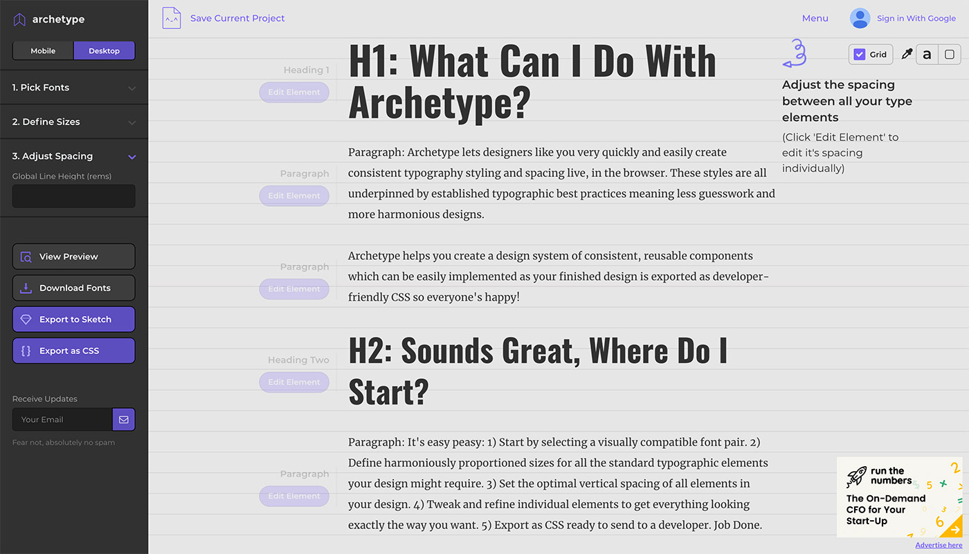 Archetype - Herramientas diseño UI