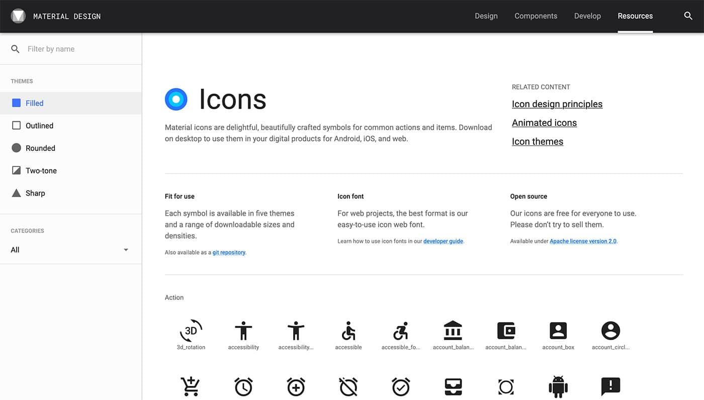 Materia Design Icons - Herramientas diseño UI