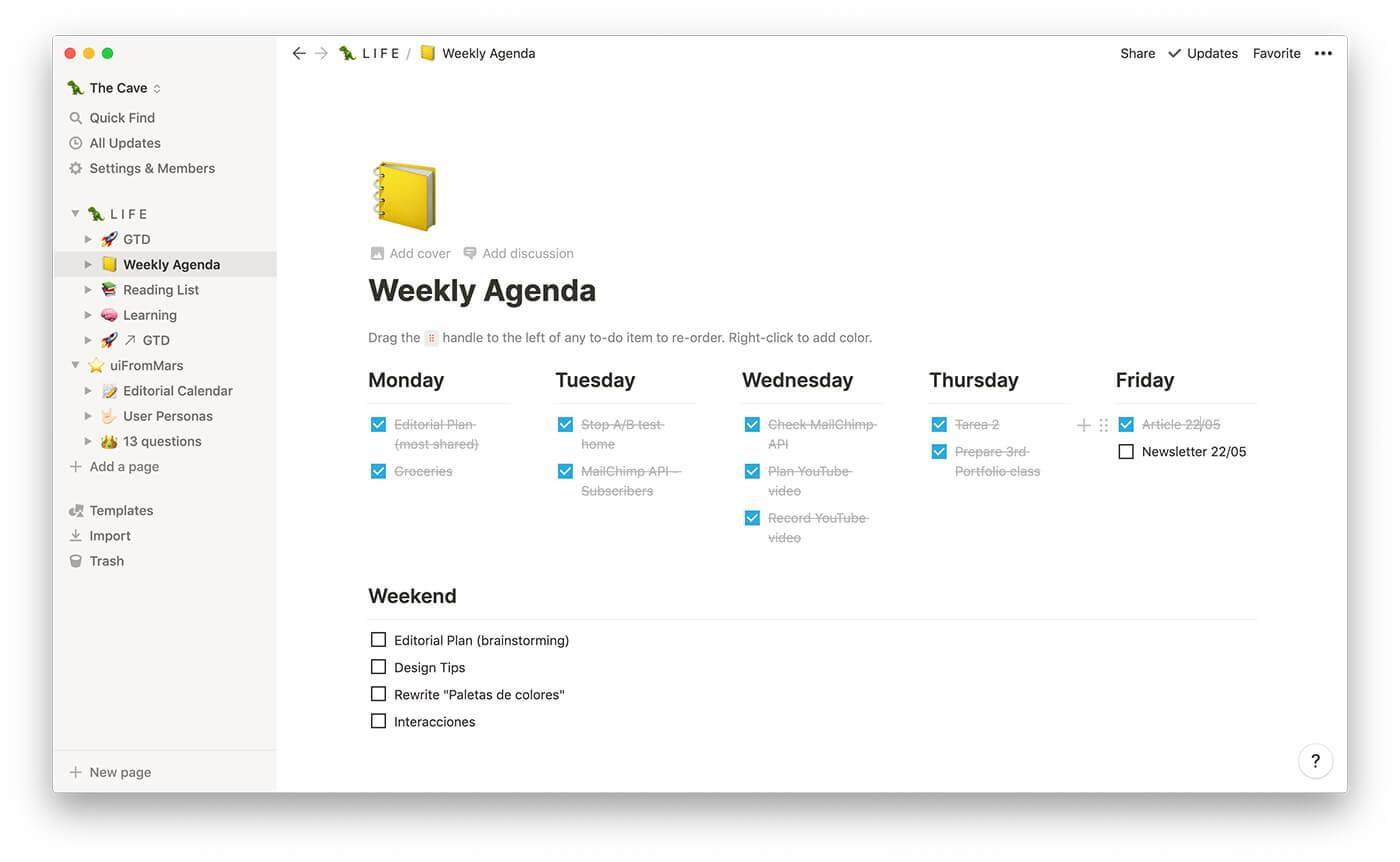 La agenda semanal en Notion