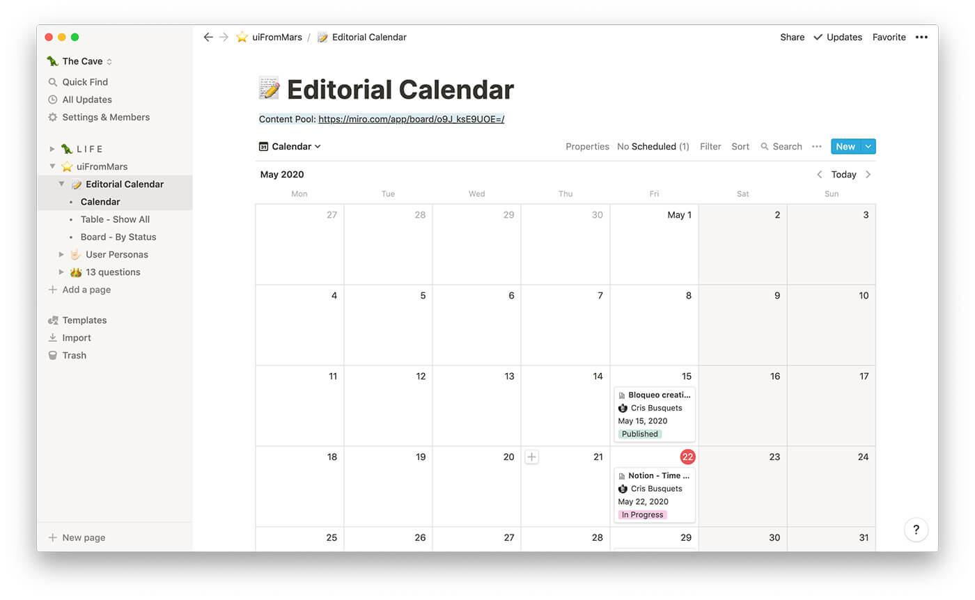 Calendario editorial en Notion