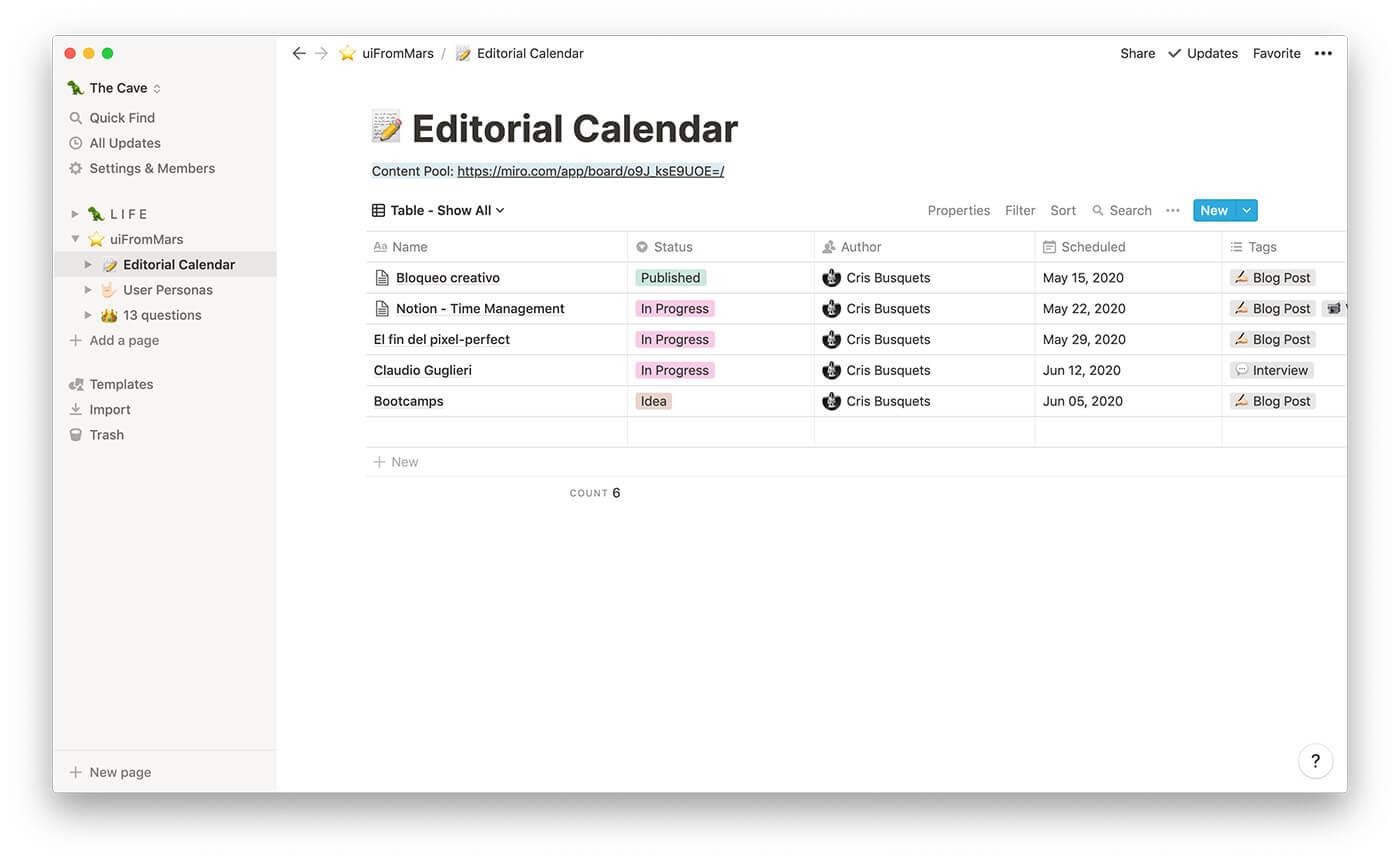 Plan editorial: lista con ideas