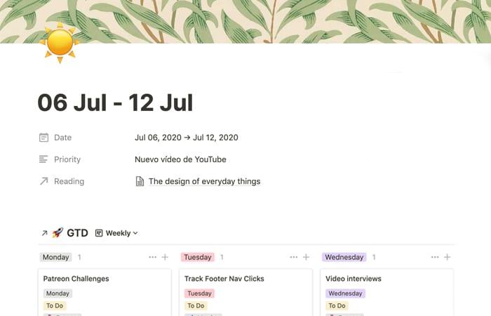 Notion: cómo hacer GTD y agenda semanal