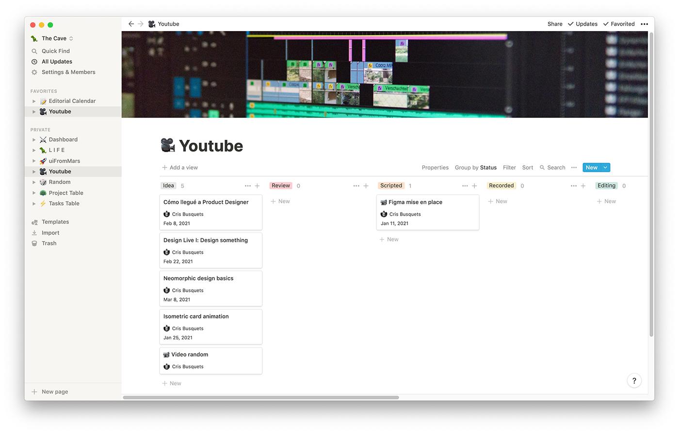 Captura de Notion con un kanban para los vídeos de Youtube